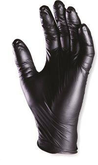 Gants jetables nitrile noir par 10 usage unique taille 8 M surface grip texturée