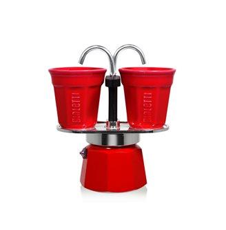 Cafetière fontaine deux tasses rouge