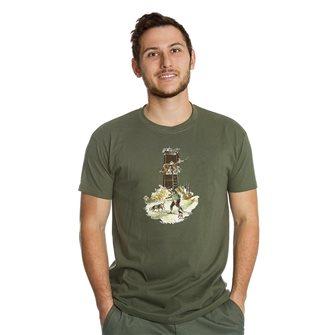 Tee shirt kaki XL humour chasseur cherchant gibier de Bartavel Nature