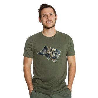 Tee shirt homme Bartavel Nature kaki sérigraphie 2 têtes de sanglier M