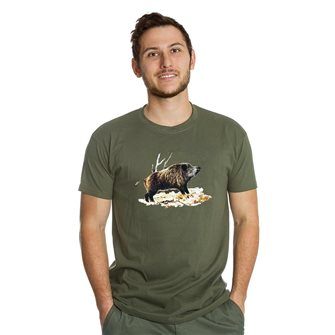Tee shirt homme Bartavel Nature kaki sérigraphie sanglier sur lit de feuille M