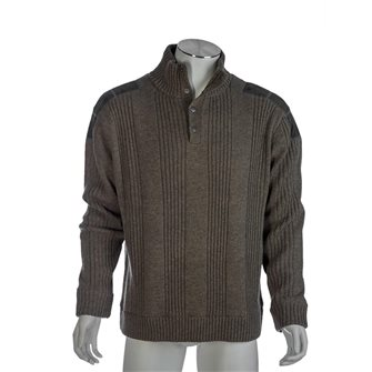 Pull homme P53 anthracite 3XL doublé jersey effet coupe-vent