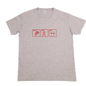 T-shirt Grape Press Wine M Tom Press gris chiné sérigraphie bordeaux