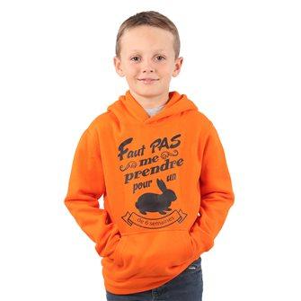 Sweat à capuche garçon orange 12 ans humoristique Bartavel