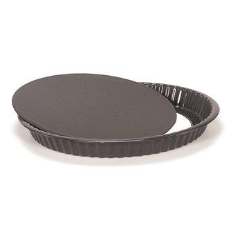 Moule à tarte tourtière cannelée en acier émaillé 30 cm avec fond amovible