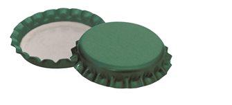 Bouchons couronne 29 mm verts pour bouteilles à vin