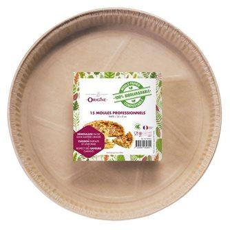 Lot de 15 moules à tarte 25 cm en papier 100% biodegradable Naturel